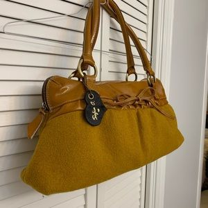 Sophia Leather and Wool satchel made in Italy